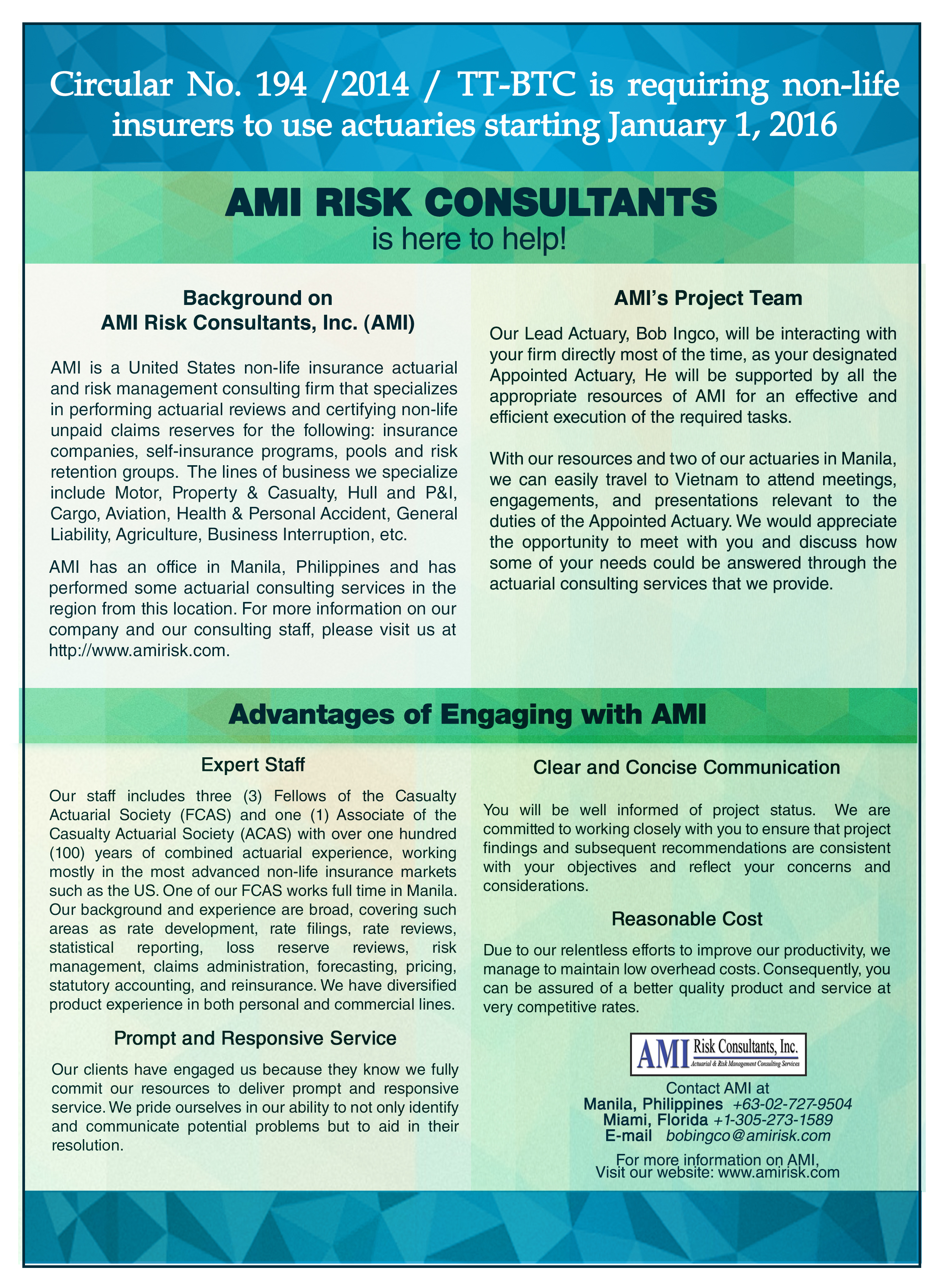 Ami Risk And Actuarial Services Ami Risk Consultants Actuarial